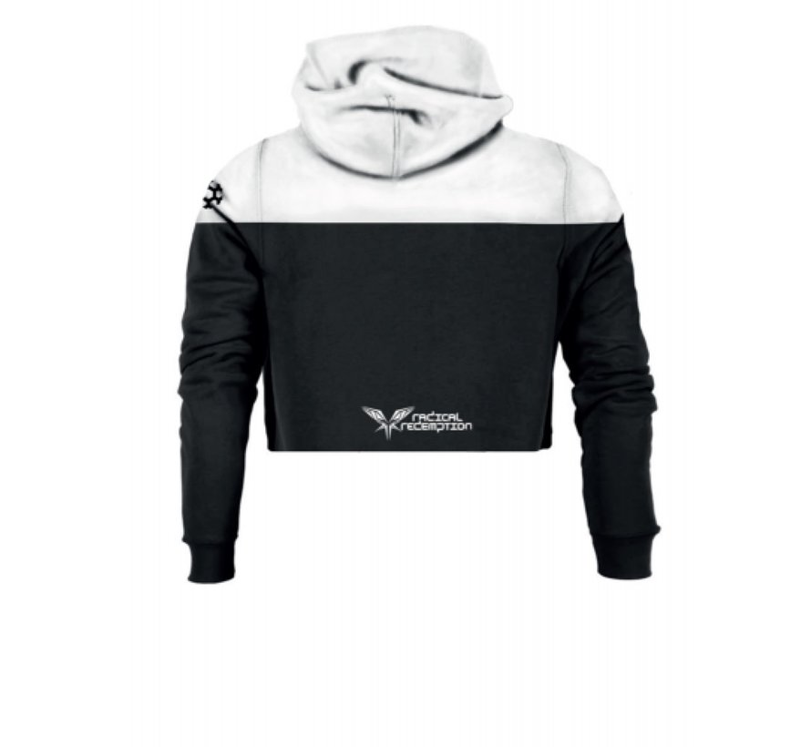 BLACK / WHITE CROPPED HOODY