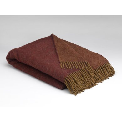 Mcnutt of donegal Mcnutt plaid 100 % pure wool Burgundy & Olive reversible
