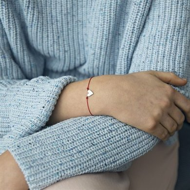 Timi of Sweden Make a wish bracelet red with silver heart