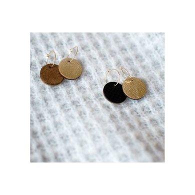 Lisa la pelle Lisa la Pelle earrings confetti love reversible brown suede / gold rose gold
