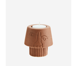 Madam Stoltz Madam Stoltz tealight holder face terracotta
