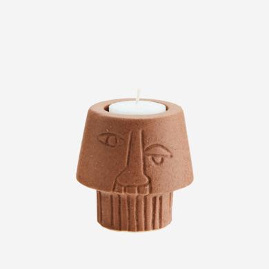 Madam Stoltz Madam Stoltz tealight holder face terracotta