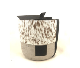 Oscar Candles Oscar Candles L brown-white cowhide grey pot