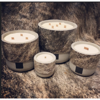 Oscar Candles Oscar Candles L brown-white cowhide grey pot
