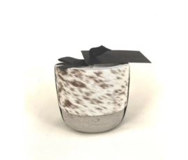Oscar Candles Oscar Candles S brown-white cowhide grey pot