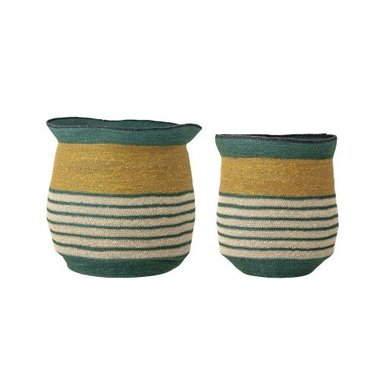 Bloomingville Bloomingville set of seagrass baskets green and yellow