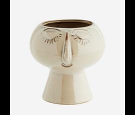 Madam Stoltz Flowerpot beige face Madam Stoltz