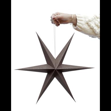 Delight Department Ornament star brown sparkle set 30 & 40 cm