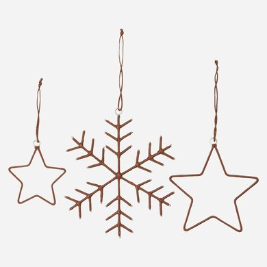 House Doctor Ornament snowflakes & stars set of 3