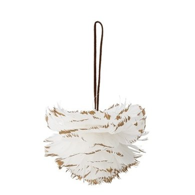 Bloomingville Bloomingville christmas bauble white feathers