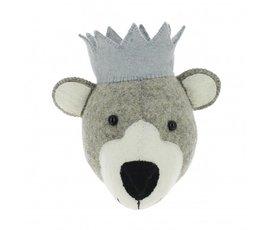Fiona Walker Fiona Walker felt animal head bear with blue crown