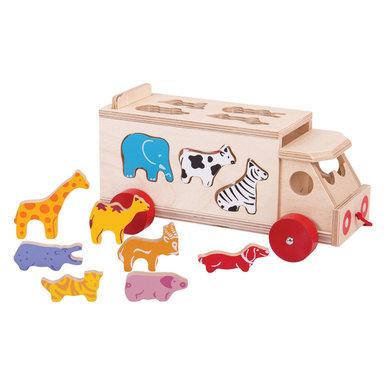 Bigjigs Houten bus met dieren