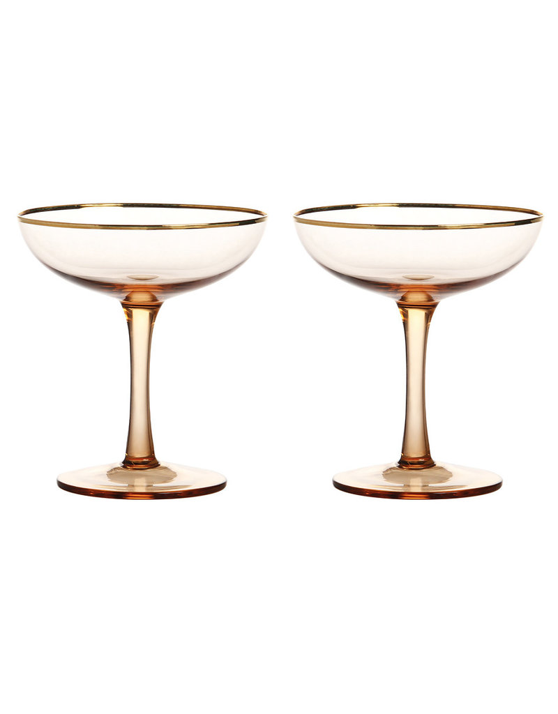 &K CHAMPAGNE COUPE GOLD SET 2