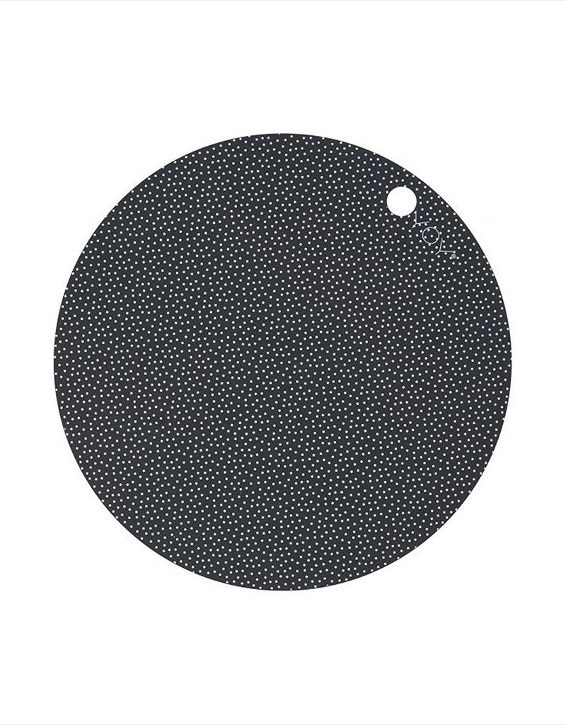 OYOY OYOY PLACEMAT DARK GREY/DOT ROND SET VAN 2