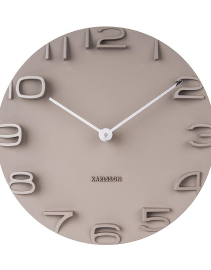 PRESENT TIME PT KARLSSON WALL CLOCK ON THE EDGE WARM GREY