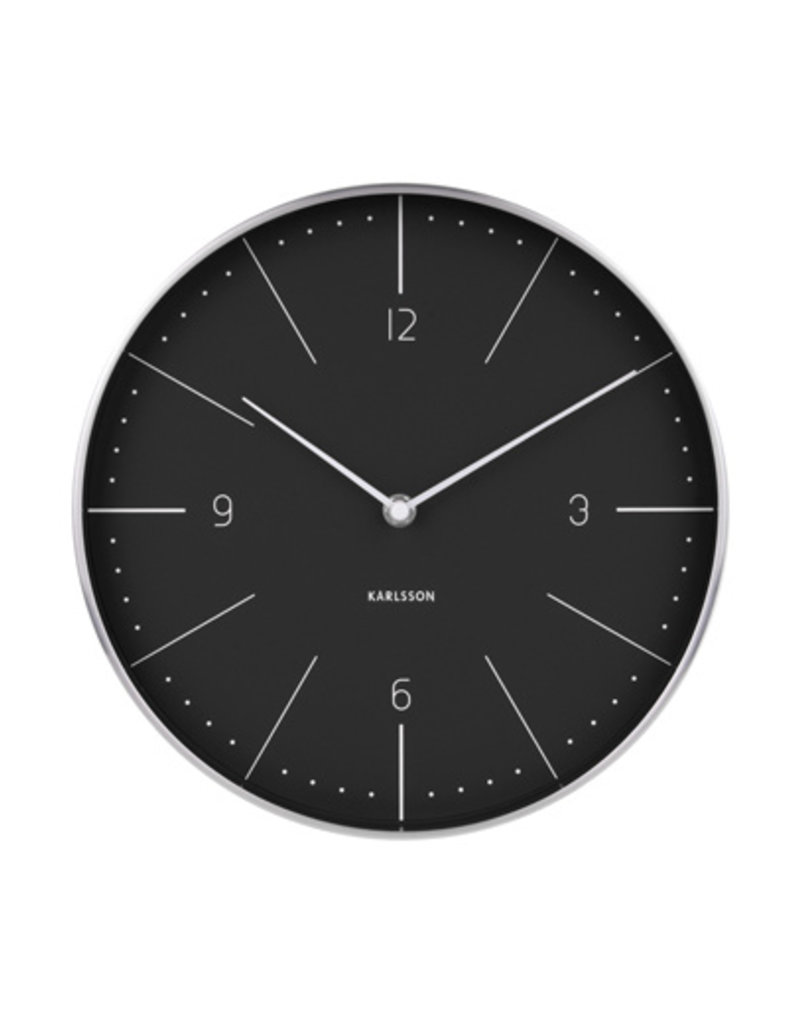 PRESENT TIME PT KARLSSON WALL CLOCK NORMANN BLACK