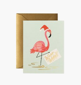 RIFLE PAPER CO RIFLE XMAS HOLIDAY FLAMINGO CARD