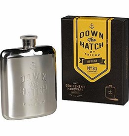 GH SILVER HIP FLASK 'DOWN THE HATCH'