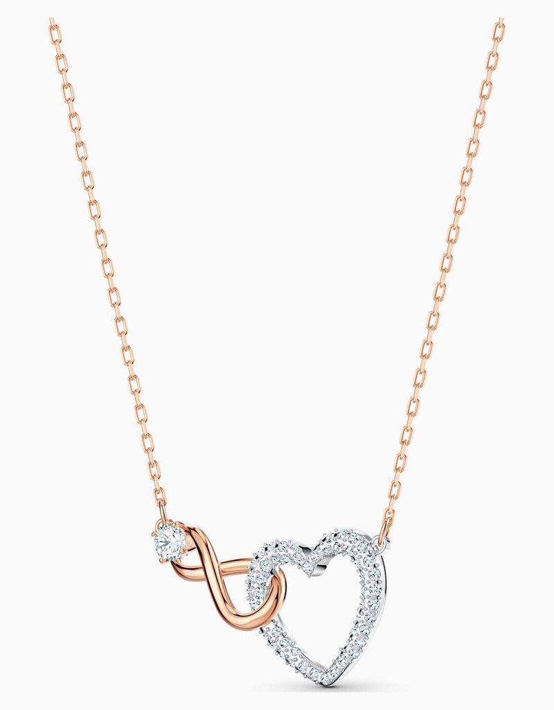 SWAROVSKI SWA Infinity set ketting + oorringen roségoud-verguld