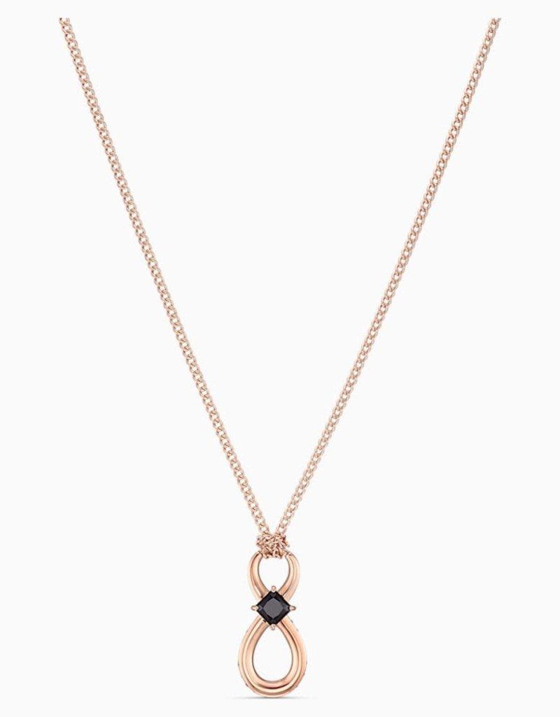 SWAROVSKI SWA Infinity ketting lang zwart roségoudkleurige toplaag