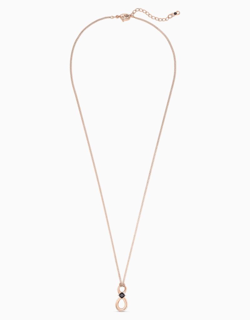 Swarovski Infinity-hanger, Zwart, Roségoudkleurige toplaag