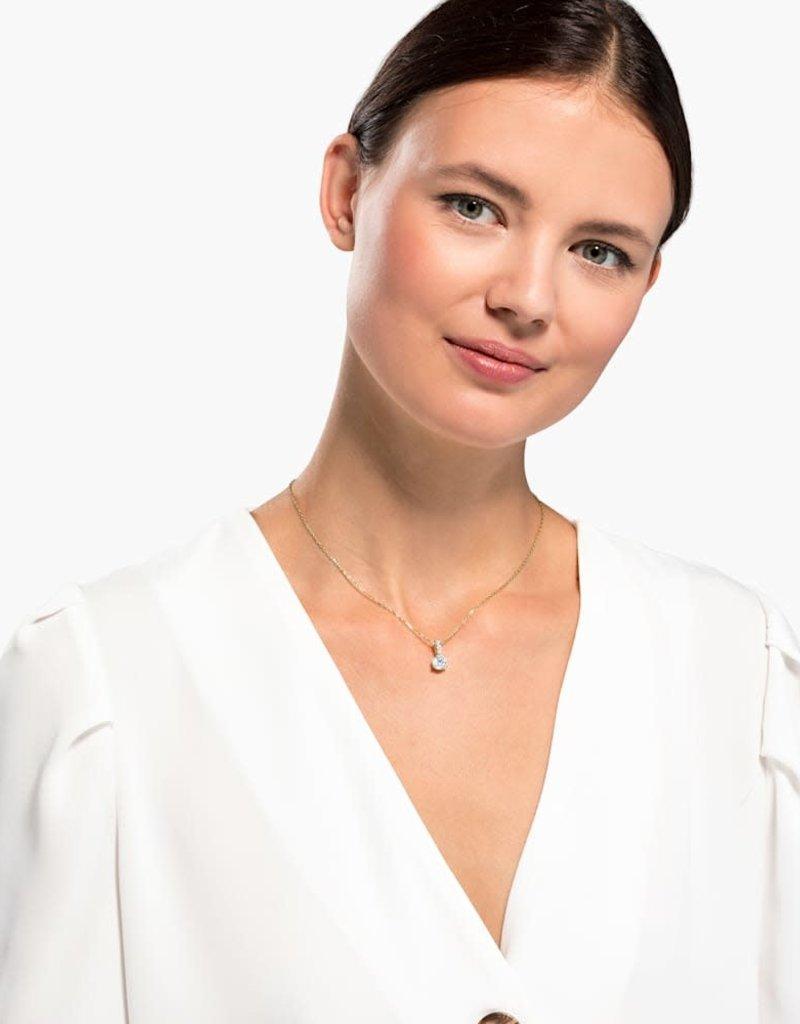 SWAROVSKI SWA Solitaire ketting wit goudkleurige toplaag