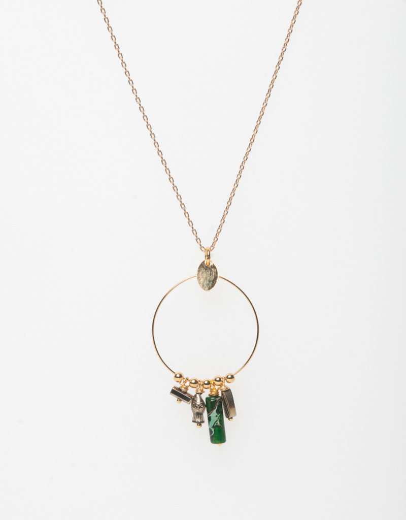 MURIELLE PERROTTI PERROTTI CHARLIE COLLIER CHARMS GOLD GREEN