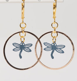 MON ONCLE MON ONCLE LEAF OORRING DRAGONFLY BIG CIRCLE