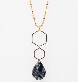 MON ONCLE MON ONCLE MARB KETTING BLACK MARBLE DROP