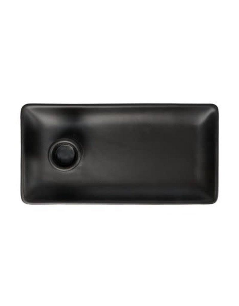 ZUSSS Zusss kandelaar met blad keramiek mat zwart