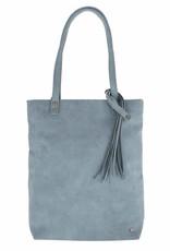 ZUSSS Zusss basic shopper met kwast grijs-blauw
