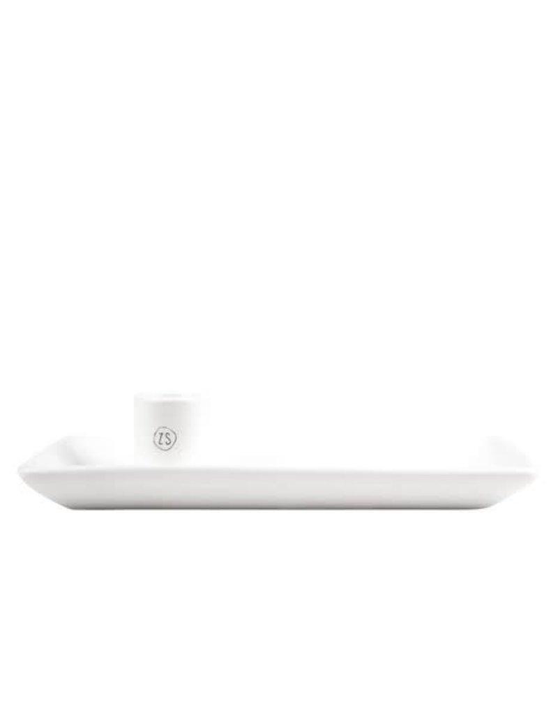 ZUSSS Zusss kandelaar met blad keramiek wit