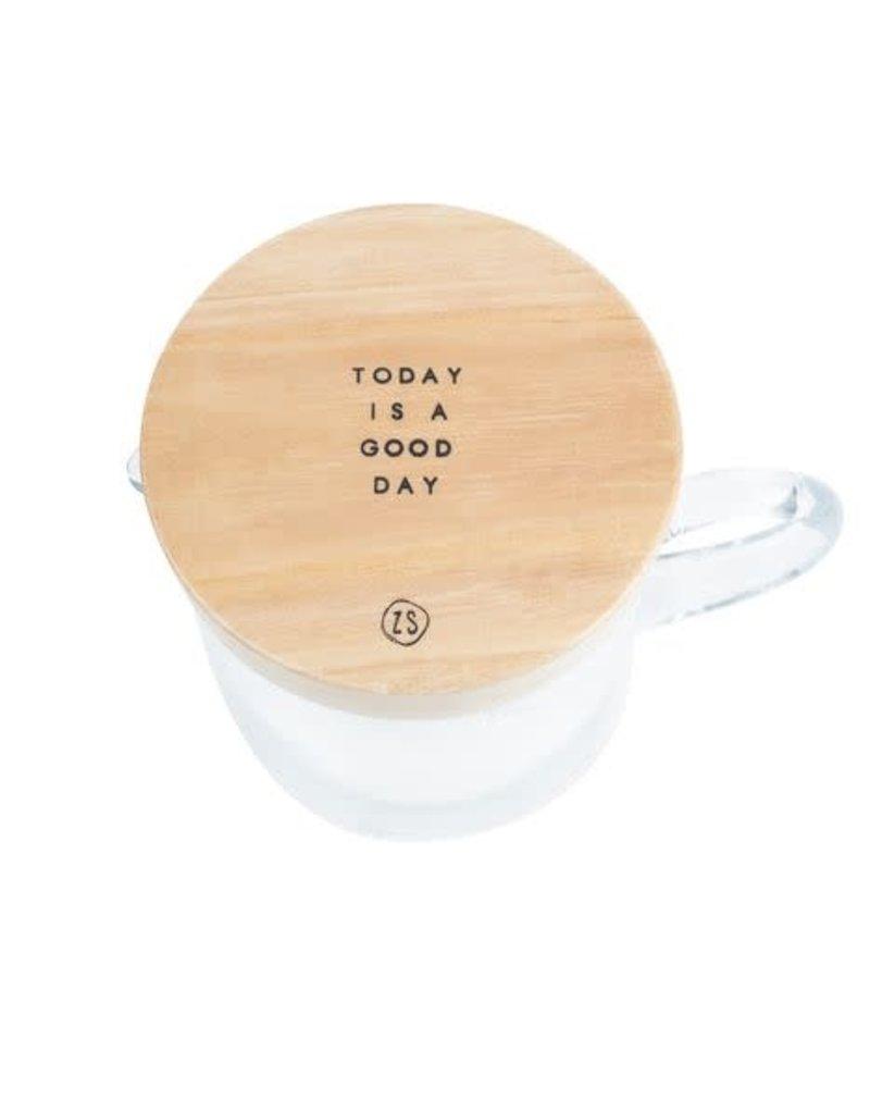 ZUSSS Zusss waterkan met houten deksel good day glas