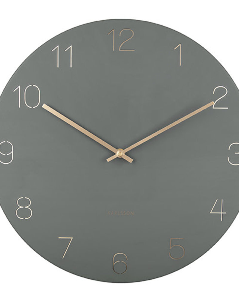 PRESENT TIME PT WALL CLOCK CHARM ENGRAVED GREEN