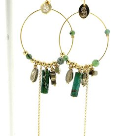 MURIELLE PERROTTI PERROTTI CREOLE CHARMS & CHAINE SYM GOLD GREEN