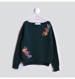 T-Love Sweater knitted bloemen groen