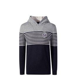 Lion Of Porches Sweater kap streep grijs/marine