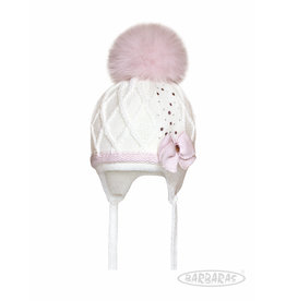 BARBARAS Baby Muts wit + strik roze pompon