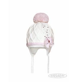 BARBARAS Baby Muts wit + strik roze katoen pompon