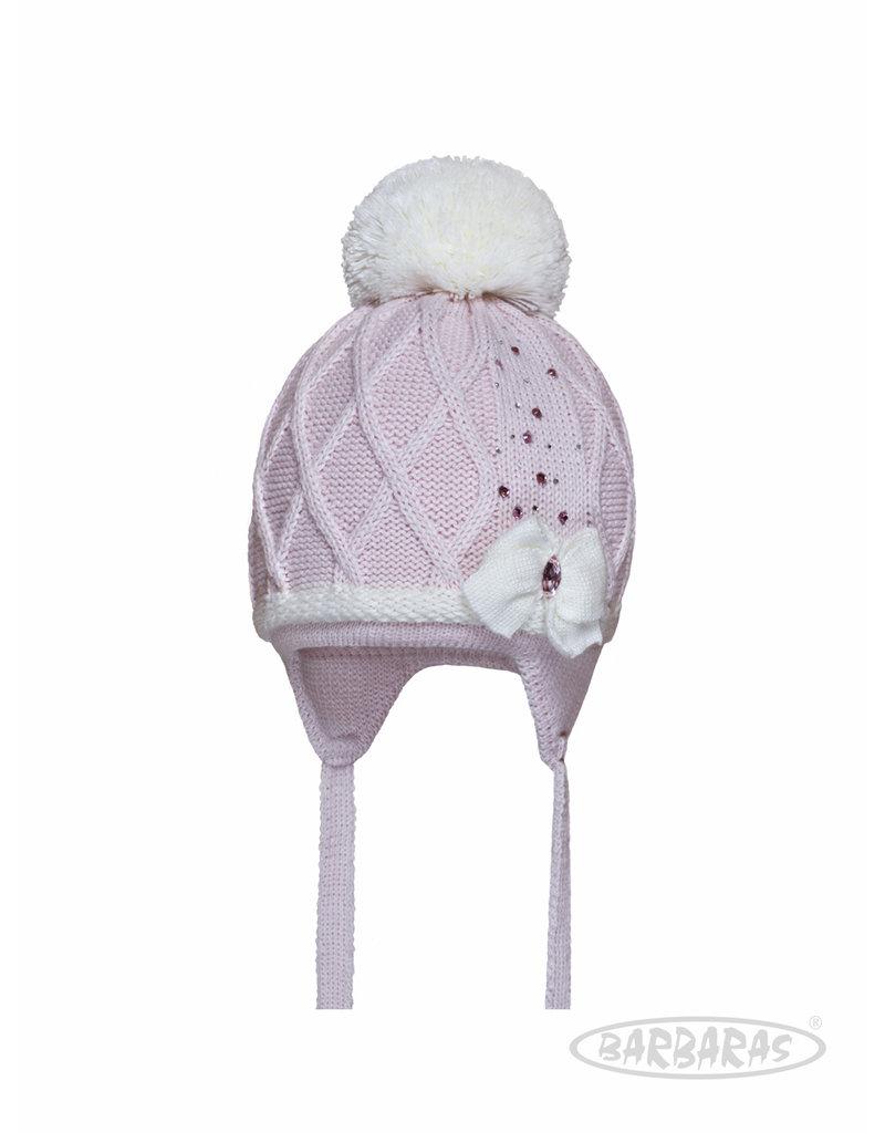 BARBARAS Baby Muts roze + strik witte katoen pompon