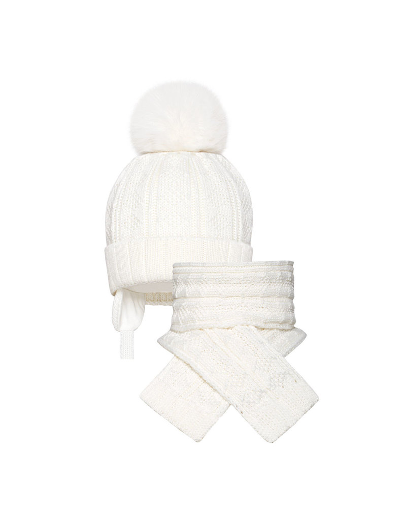 BARBARAS Muts + Sjaal pompon wit