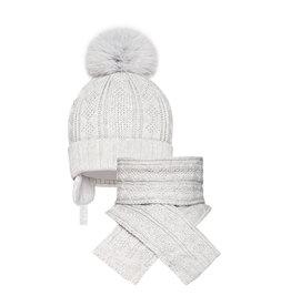 BARBARAS Muts + sjaal pompon grijs