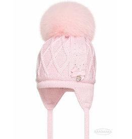 BARBARAS Baby Muts steentjes roze pompon