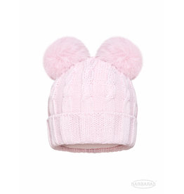 BARBARAS Baby Muts roze dubbele pompon