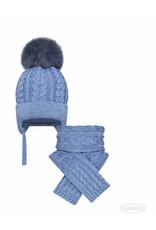 BARBARAS Set muts+sjaal jeansblauw pompon