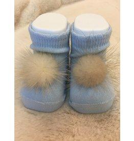 Carlomagno Sokjes pompon babyblauw