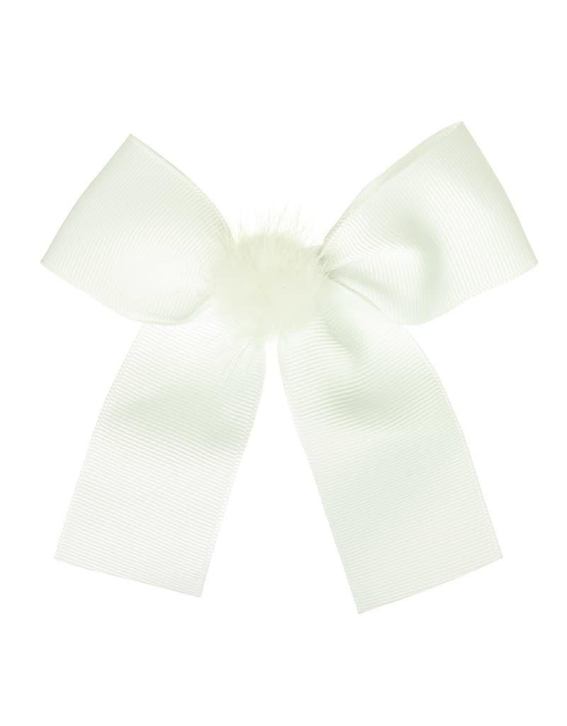 Siena Speld lange strik pompon wit