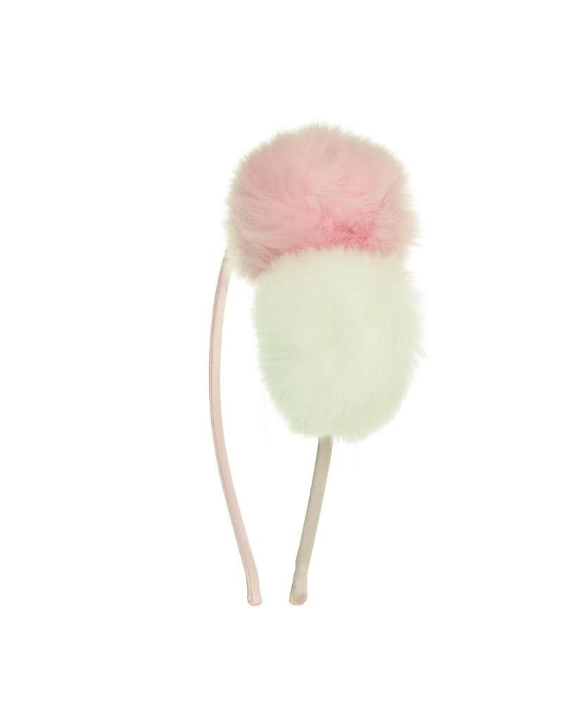 Siena Diadeem grote pompon roze/wit
