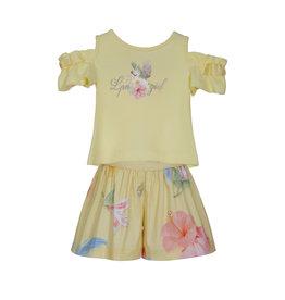 """Lapin House Set 'LPN Girl"""" Tshirt+Shortje geel offshoulder bloemen"""