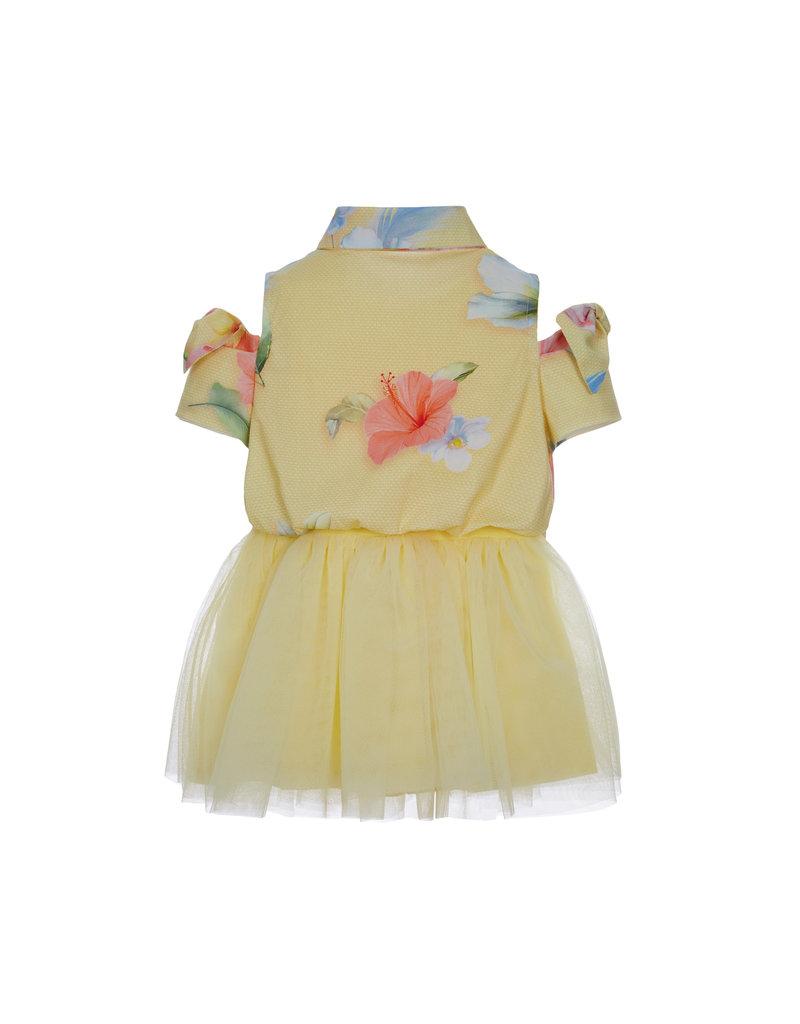Lapin House Jurk geel bloemen open armpjes tule rok